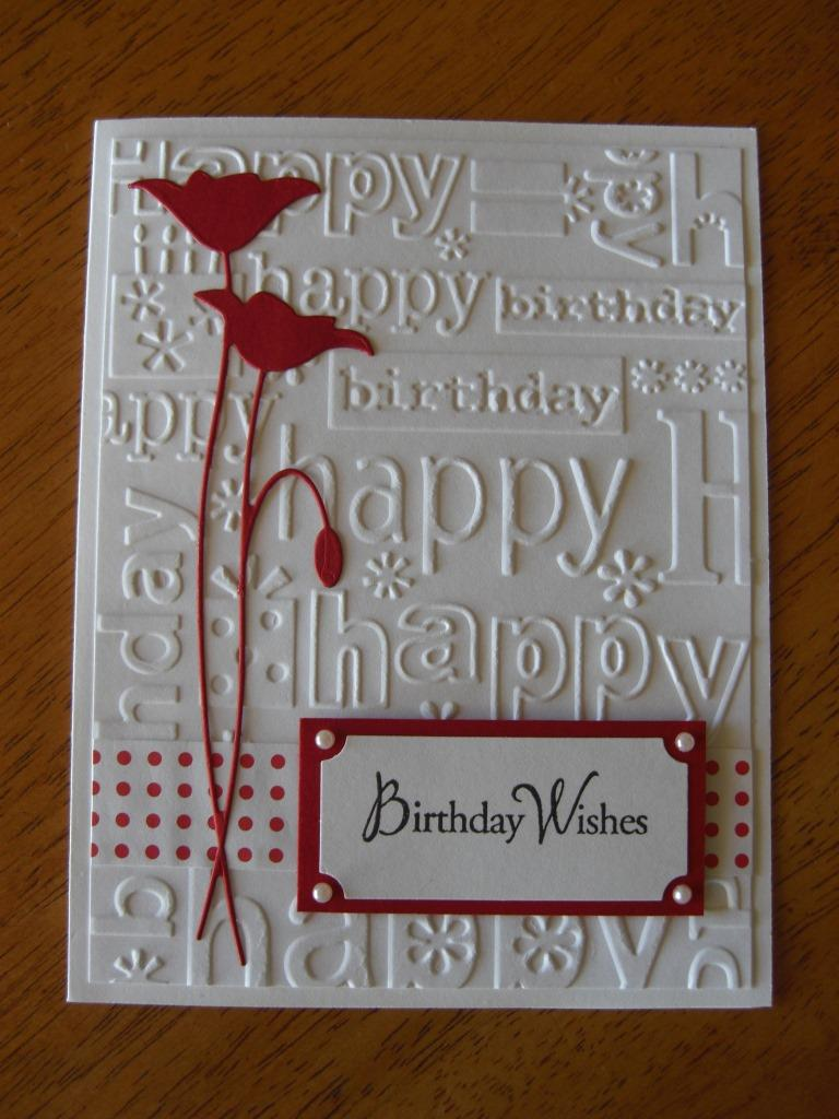 Carved red flowered birthday card wishes