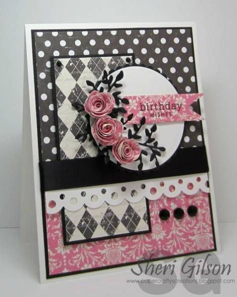 Sweet pink and black birthday card