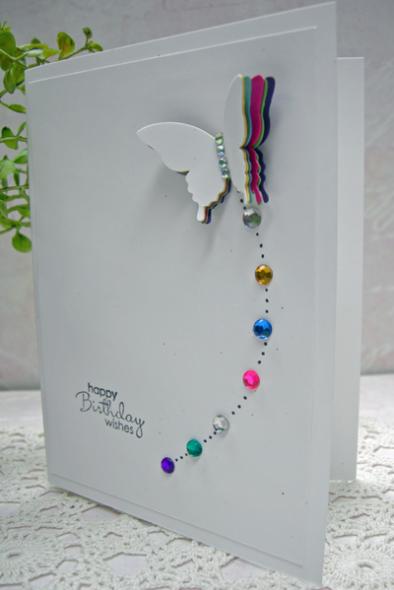 Handmade Beautiful White birthday Card